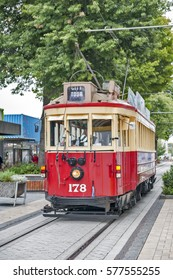 Christchurch, New Zealand - February 14, 2016: Vintage style tram on the Christchurch Tramway offers a unique city tour by the classic way of transportation in New Zealand