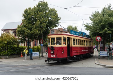 CHRISTCHURCH, NEW ZEALAND - JAN 17, 2016: Christchurch Tramway tram system. The tramway operate since 1882 and become one of the symbols of Christchurch and a popular attraction for tourists.