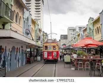 Christchurch, New Zealand - Jan 29, 2020: A Christchurch Tramway tram is running the central city loop on new regent street.