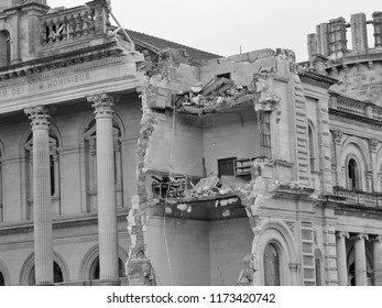 CHRISTCHURCH, NEW ZEALAND, JULY 26, 2011: DESTROYED HERITAGE BUILDING AFTER THE EARTHQUAKES