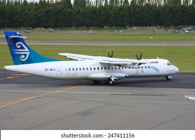 CHRISTCHURCH, NEW ZEALAND - MARCH 17, 2009: Air New Zealand ATR 72 at Christchurch Airport, New Zealand. As of 2013 ATR has 206 orders for ATR 72 aircraft.