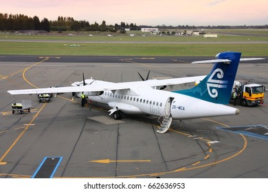 CHRISTCHURCH, NEW ZEALAND - MARCH 17, 2008: Air New Zealand ATR 72 at Christchurch Airport, New Zealand. As of 2013 ATR has 206 orders for ATR 72 aircraft.