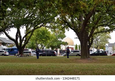 Christchurch, New Zealand - March 18, 2019; Christchurch Mosques Massacre - View of Al Noor Mosque Linwood Avenue where majority of dead were shot.