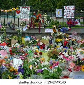 Christchurch, New Zealand - March 18, 2019; Christchurch Mosques Massacre - Messages of solidarity, remembrance; grief and commiseration to the families of the 50 dead.