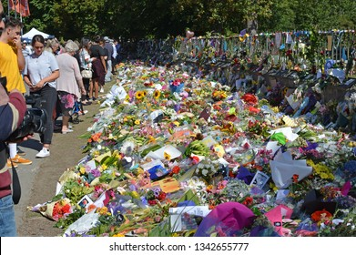 Christchurch, New Zealand - March 19, 2019; Floral tribute to the 50 people shot and killed at two Mosques on March 15, 2019 in Christchurch New Zealand.