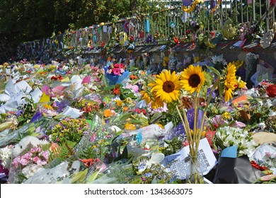 Christchurch, New Zealand - March 19, 2019; Floral tribute & messages of Love and solidarity from Kiwis to the 50 people shot and killed at two Mosques on March 15, 2019.