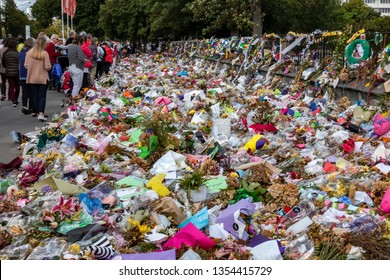 Christchurch, New Zealand, March 29 2019: People continue to lay flowers in Christchurch, 2 weeks after the March 15 Mosque shootings.  Fifty people died and 50 were injured in the two terror attacks.