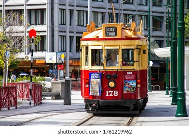 Christchurch, New Zealand - May 2, 2011. A vintage tram running at downtown in Christchurch, New Zealand. Christchurch was established in 1850 by Anglican English settlers