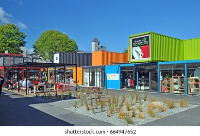 Christchurch, New Zealand - November 03, 2011: The first Container Shops to be built in Christchurch following two massive earthquakes which destroyed all central Christchurch shops and buildings.