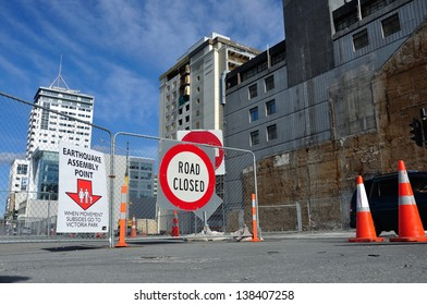 CHRISTCHURCH, NEW ZEALAND, NOVEMBER 16: Signage directs people to an earthquake assembly point in Christchurch, New Zealand, 16-11-2012. 182 people died in the 6.4 earthquake the previous year.