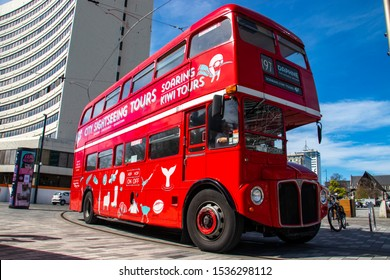 Christchurch, New Zealand - Oct 2019. A vintage city sightseeing bus running on street in Christchurch, New Zealand. Christchurch was established in 1850 by Anglican English settlers