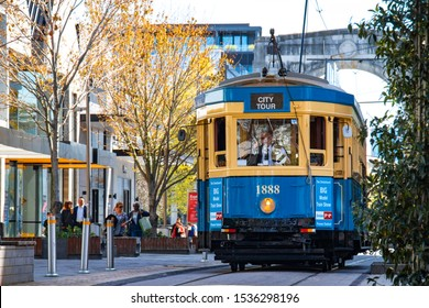 CHRISTCHURCH, NEW ZEALAND - Oct 2019: Christchurch Tramway tram system. The tramway operate since 1882 and become one of the symbolic-tours of Christchurch and a popular attraction.