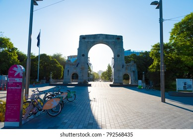 Christchurch, New Zealand - October 31, 2017 :The Bridge of Remembrance war memorial in Christchurch downtown, New Zealand.