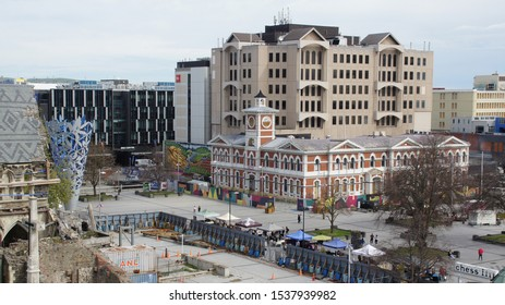 Christchurch, New Zealand - October 8th 2019. landscape of Christchurch Cathedral Square with street market