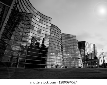 CHRISTCHURCH NEW ZEALAND - OCTOBER 9; building example modern architecture glass and  steel curving wavy facade of city Art Gallery in evening light October 9 2018 Christchurch New Zealand