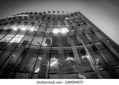 CHRISTCHURCH NEW ZEALAND - OCTOBER 9; Deloitte building example modern architecture glass and vertical Louvre facade in monochrome October 9 2018 Christchurch New Zealand