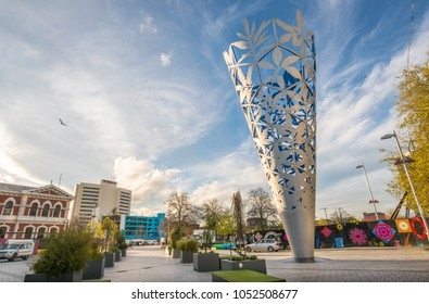 Christchurch, New Zealand -October-01-2017 : Chalice the magnificent sculpture in Cathedral square of Christchurch the second largest city of New Zealand.