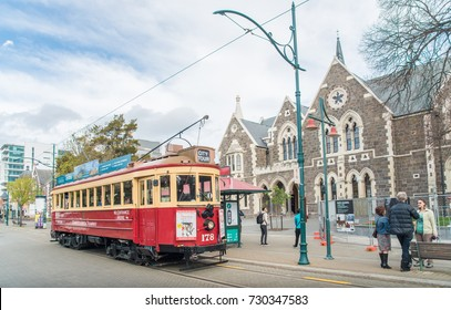 Christchurch, New Zealand -October-01-2017 : The iconic classic Tram on Worcester street of Christchurch, New Zealand.