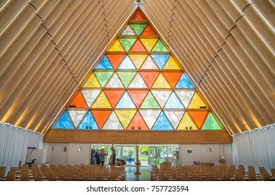 Christchurch, New Zealand -October-01-2017 : The inside of Cardboard Cathedral in Christchurch, New Zealand, is the transitional pro-cathedral of the Anglican Diocese of Christchurch.