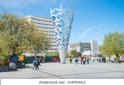 Christchurch, New Zealand -October-02-2017 : The Chalice is an iconic sculpture landmark at Cathedral square of Christchurch, New Zealand.