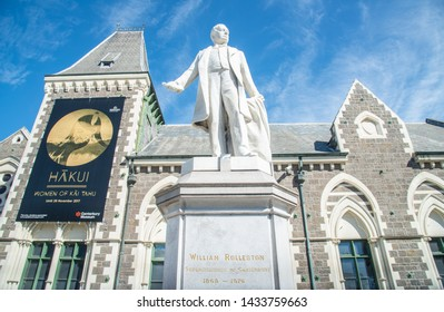 Christchurch, New Zealand -October-02-2017 : Statue of William Rolleston outside the Canterbury Museum. Rolleston was Canterbury provincial superintendent.