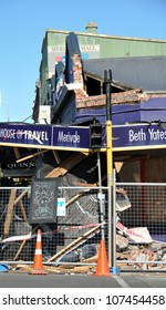 CHRISTCHURCH, NEW ZEALAND - SEPTEMBER 07: A travel agency on Papanui Road is demolished by a 7.1 earthquake on September 07, 2010 in Christchurch.