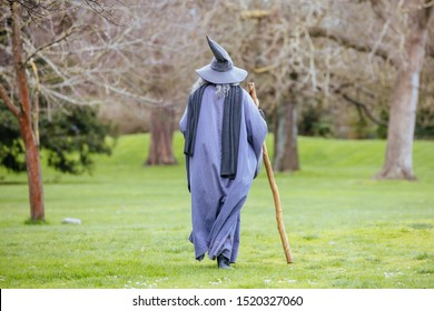 Christchurch, New Zealand - September 16 2019: The infamous Christchurch Wizard in the Botanical Gardens on a warm spring day in New Zealand