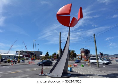 CHRISTCHURCH,  NZL - DEC 04 2015: Christchurch Earthquake Rebuild - Nucleus sculpture.It is untouched by earthquake and now dominates High Street Christchurch.
