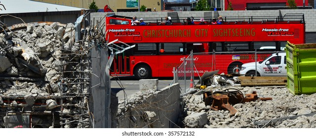 CHRISTCHURCH,  NZL - DEC 04 2015:Christchurch tour bus in downtown Christchurch.The bus tours the city thorough Christchurch landmarks and earthquake destruction sites.