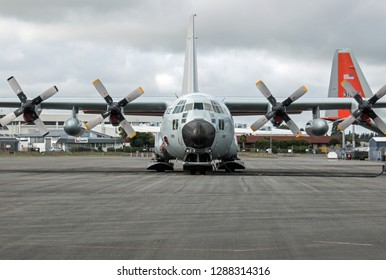 CHRISTCHURCH/NEW ZEALAND - FEBRUARY 24, 2018: Lockheed LC-130 Hercules ski-equipped cargo airplane used in the United States Antarctic Program for flights to Antarctica
