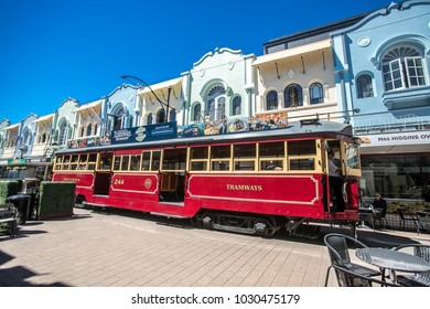 Christchurch/New Zealand - January 30 2018: historic tram in the city center