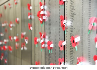 CHRISTCURCH, NEW ZEALAND, DECEMBER 12, 2018: Red poppies decorate the roll of honour at the Air Force Museum in Christchurch, New Zealand