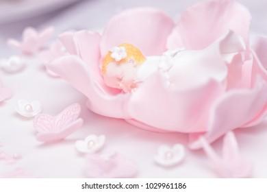 Christening cake decoration - sleeping baby