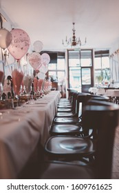 Christening party with pink balloons