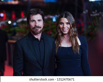 Christian Bale (L) and Sibi Blazic pose at the 'Vice' premiere during the 69th Berlinale International Film Festival Berlin at Berlinale Palace on February 11, 2019 in Berlin, Germany.