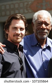 Christian Bale, Morgan Freeman at the Christopher Nolan Hand and Footprint Ceremony, Chinese Theater, Hollywood, CA 07-07-12