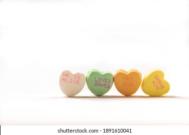Christian candy conversation hearts message