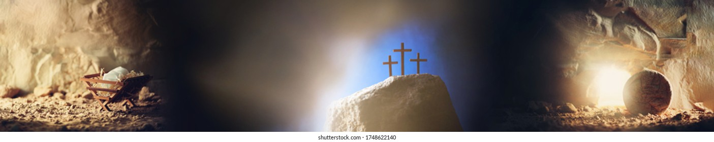 Christian Christmas and Easter concept. Chronology of Jesus life. Born to Die, Born to Rise. Wooden manger, cross on Calvary hill, empty tomb background. Jesus - reason for season