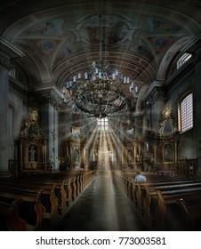 Christian church interior St.Anna ,Warsaw Poland,08/09/2012