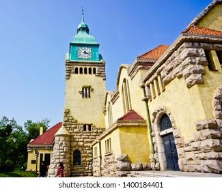 Christian Church (Lutheran Church) of Qingdao, a Bavaria charming architecture, in old town of Qingdao Shandong china