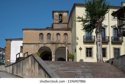 Christian church of Tineo during summer evening, Asturias, Spain