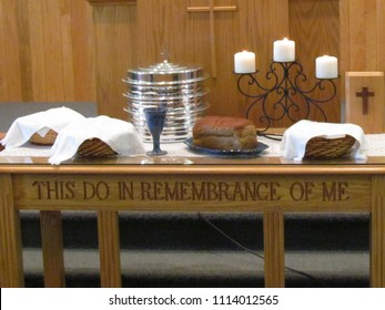 "Christian communion (Lord's supper) follows Jesus' words, ""This do in remembrance of me."" Harrisonburg,  VA, USA"