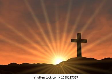 christian cross 3d illustration