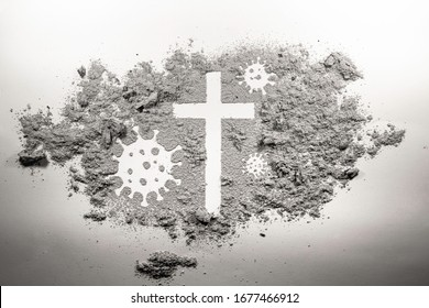 Christian cross and covid-19, coronavirus virus bacteria microbe germ made in ash, dirt, dust as religion church god, Jesus Christ, Easter, Lent and Good Friday holiday unknown and uncertain concept
