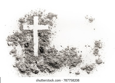 Christian cross or crucifix drawing in ash, dust or sand as symbol of religion, sacrifice, redemtion, Jesus Christ, ash wednesday, lent, Good Friday