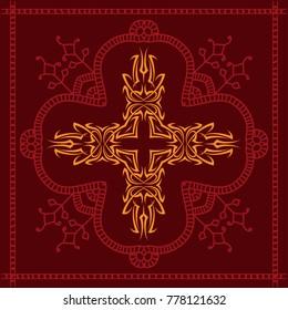Christian Cross Design Raster Art