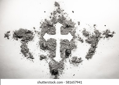 Christian cross drawing silhouette made in ash, dust, dirt as ash wednesday holiday, old vintage retro religion symbol concept background