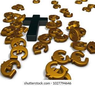 christian cross and euro symbols - 3d rendering