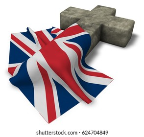 christian cross and flag of the United Kingdom of Great Britain and Northern Ireland - 3d rendering