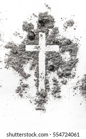 Christian cross made in ash, dust as a religion, ash wednesday concept background